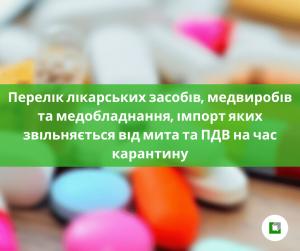 Перелік лікарських засобів, медвиробів та медобладнання,імпорт яких звільняється від мита та ПДВ на час карантину