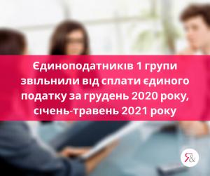 Єдиноподатників 1 групи звільнили від сплати єдиного податку за грудень 2020 року, січень-травень 2021 року